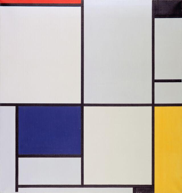 Tableau I de Piet Mondrian, du Kunstmuseum Den Haag.  Domaine public.