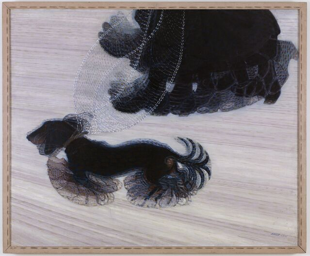 Dynamisme d'un chien en laisse par Giacomo Balla, de la galerie d'art Albright – Knox.  Domaine public.